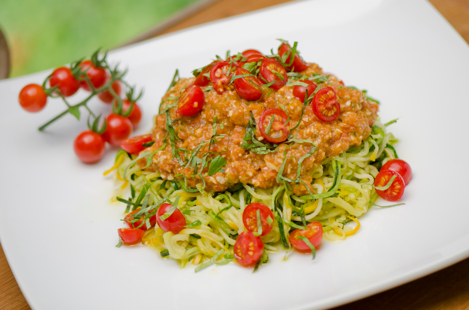 Raw Zucchini Pasta with Sun Dried Tomato Sauce