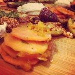 Veggie Charcuterie Board, pickled radish, cashew cheese, spiced olives, pickled…