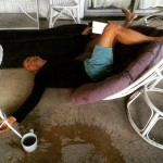 Anthony had accident in a papazan chair while drinking a…