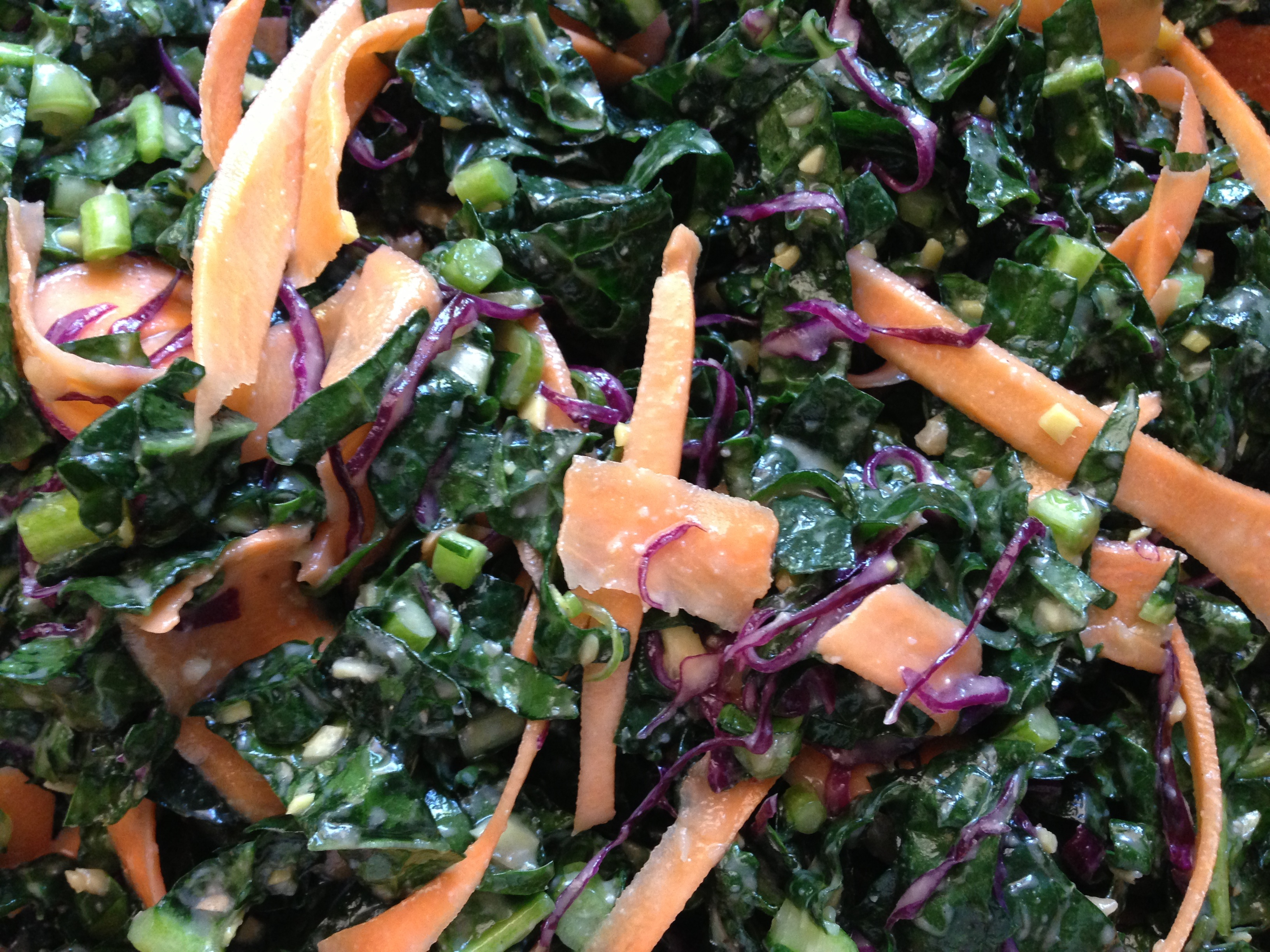 I also particularly like kale salads no only for their nutrient value but almost more so because it doesn't get soggy as it sits like other greens and almost gets better when it is leftover!