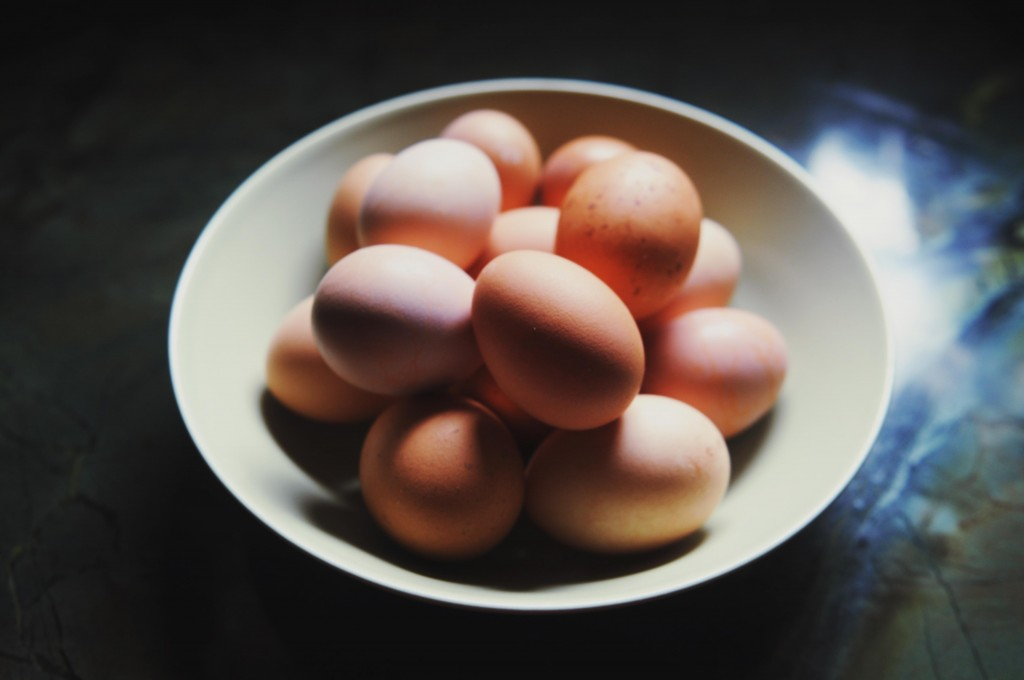 Bowl of brown eggs