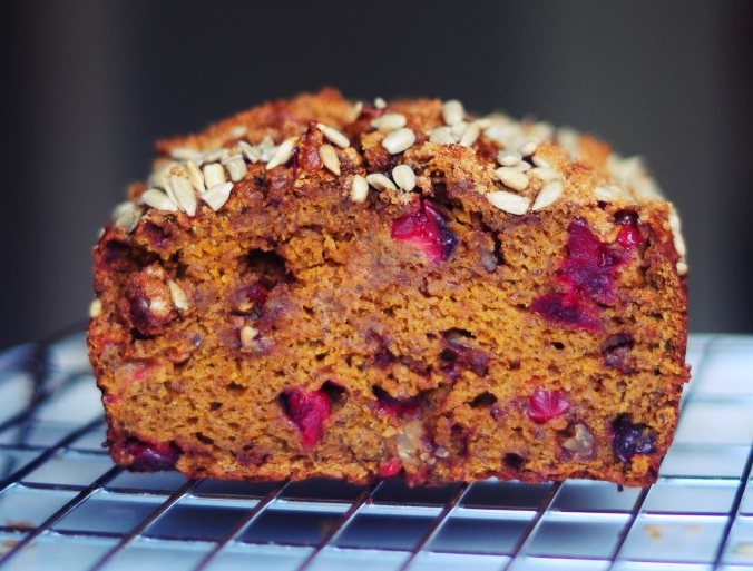 Whole Wheat Pumpkin Cranberry Bread
