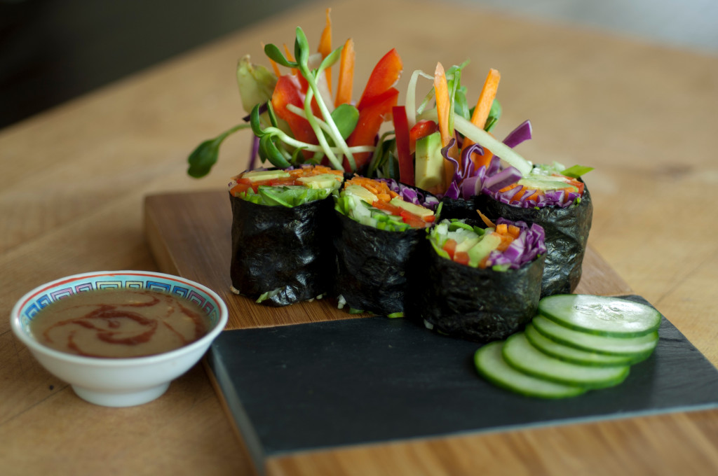Raw Nori Rolls with Spicy Coconut Dipping Sauce