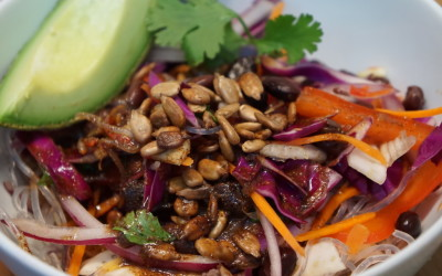 Spicy Southwestern Kelp Noodles with Avocado & Toasted Seeds