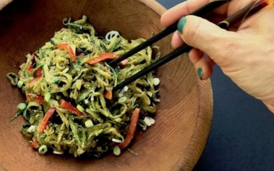 Zucchini Pasta & Kelp Noodles with Sunflower Cilantro Pesto